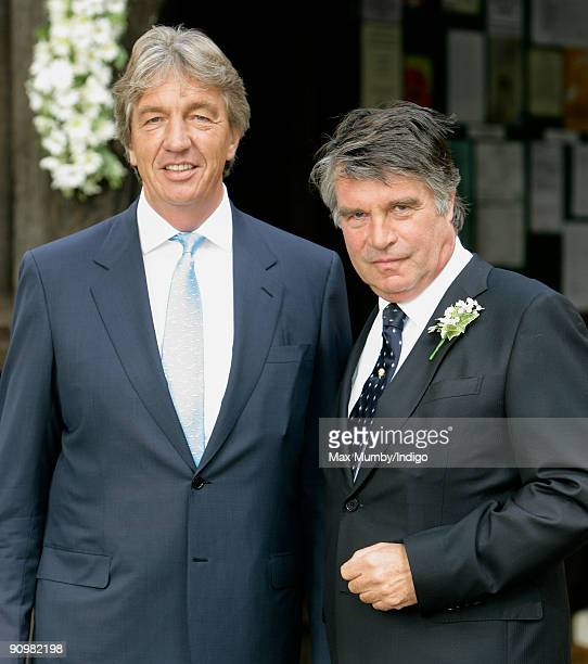 Nick Cook and Oliver Tobias arrive a St Nicholas Church for Nick's wedding to Eimear Montgomerie on September 20 2009 in Cranleigh England