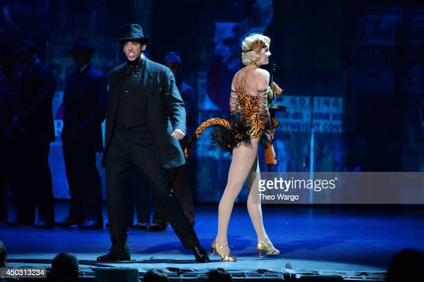 Nick Cordero and Helene Yorke and the cast 'Bullets Over Broadway' perform onstage during the 68th Annual Tony Awards at Radio City Music Hall on...
