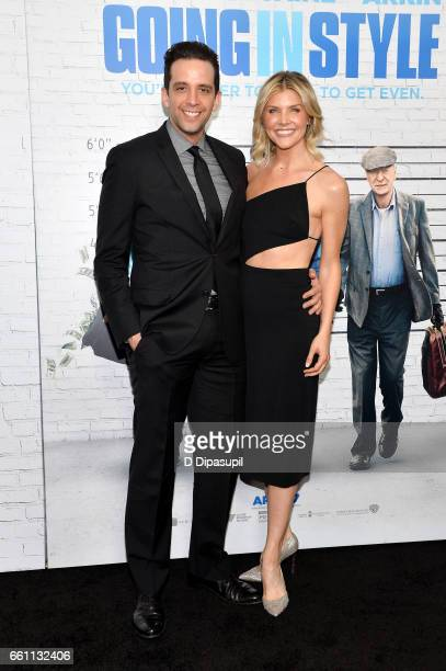 Nick Cordero and Amanda Kloots attend the Going in Style New York premiere at SVA Theatre on March 30 2017 in New York City