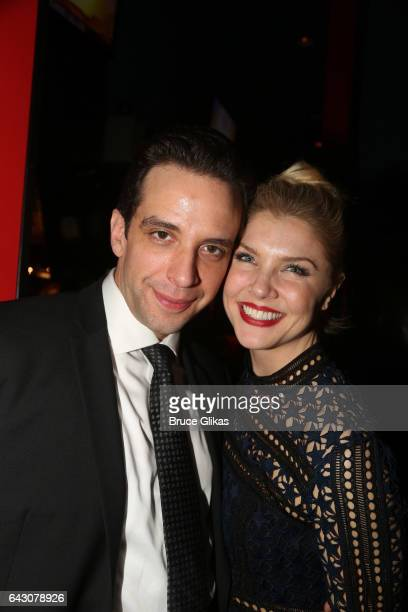 Nick Cordero and Amanda Kloots pose at the after party for Manhattan Concert Production's Broadway Series Crazy For You One Night Only Production at...