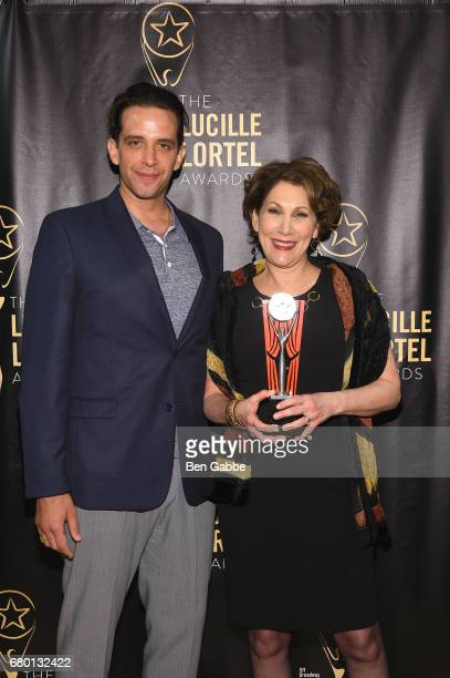 Nick Cordero and Randy Graff pose backstage at the 32nd Annual Lucille Lortel Awards at NYU Skirball Center on May 7 2017 in New York City