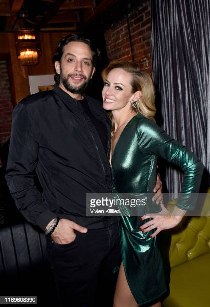 Nick Cordero and Stephanie Renee Wall attend Preview Of Rock of Ages Hollywood At The Bourbon Room on December 18 2019 in Hollywood California