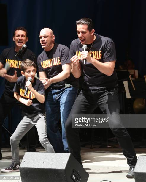 Nick Cordero and the cast of A Bronx Tale on stage at United Airlines Presents #StarsInTheAlley free outdoor concert in Shubert Alley on 6/2/2017 in...