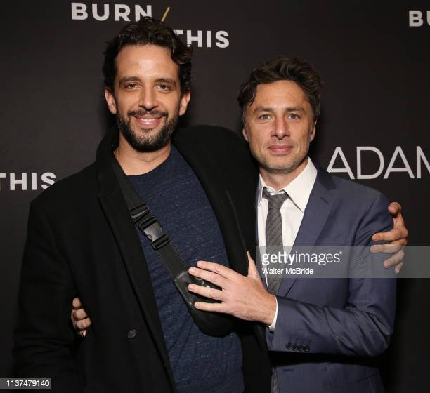 Nick Cordero and Zach Braff attend the Broadway Opening Night Arrivals for Burn This at the Hudson Theatre on April 15 2019 in New York City