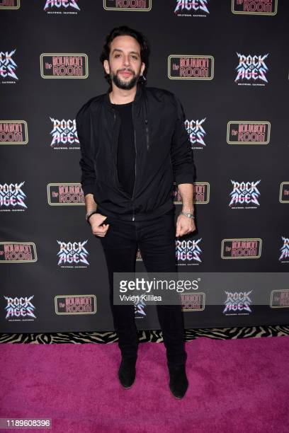 Nick Cordero attends Preview Of Rock of Ages Hollywood At The Bourbon Room on December 18, 2019 in Hollywood, California.