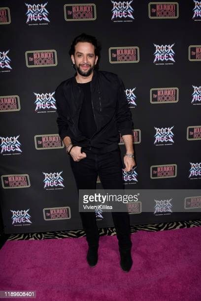 Nick Cordero attends Preview Of Rock of Ages Hollywood At The Bourbon Room on December 18 2019 in Hollywood California