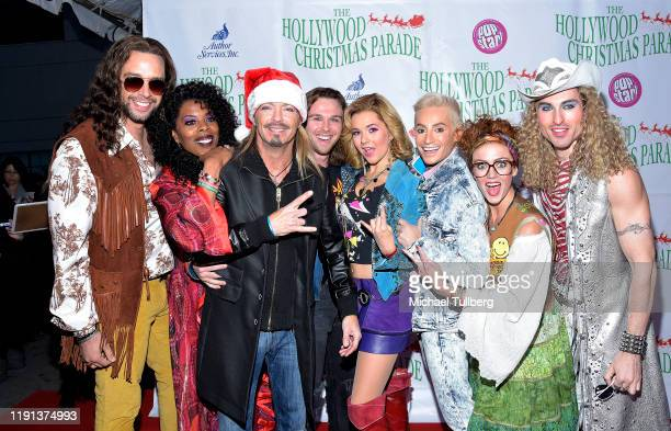 Nick Cordero Bret Michaels Frankie Grande and the cast of Rock Of Ages attend the 88th annual Hollywood Christmas Parade on December 01 2019 in...