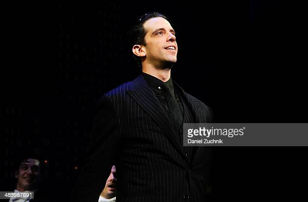 """Nick Cordero performs during the """"Bullets Over Broadway"""" opening night curtain call at St. James Theatre on April 10, 2014 in New York City."""