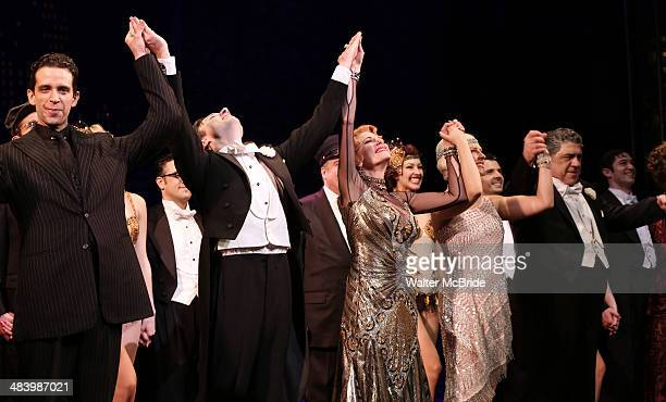 Nick Cordero Zach Braff Marin Mazzie Helene Yorke and Vincent Pastore during the Broadway Opening Night Performance Curtain Call for ''Bullets Over...