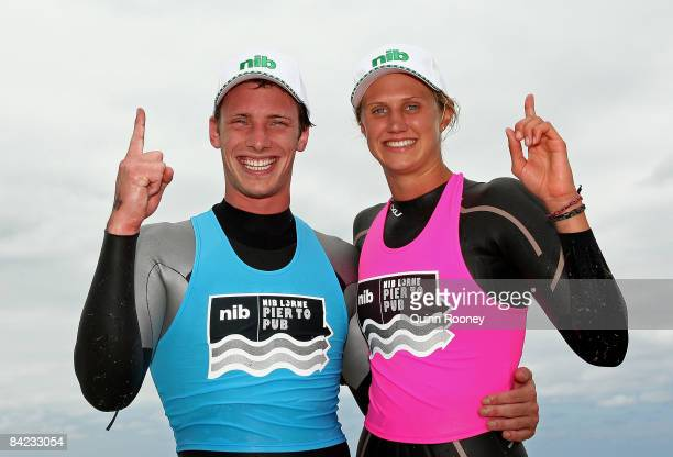 Nick Cordner of Victoria and Harriet Brown of Victoria celebrate after winning the Male Open and Female Open categories of the Lorne Pier To Pub open...