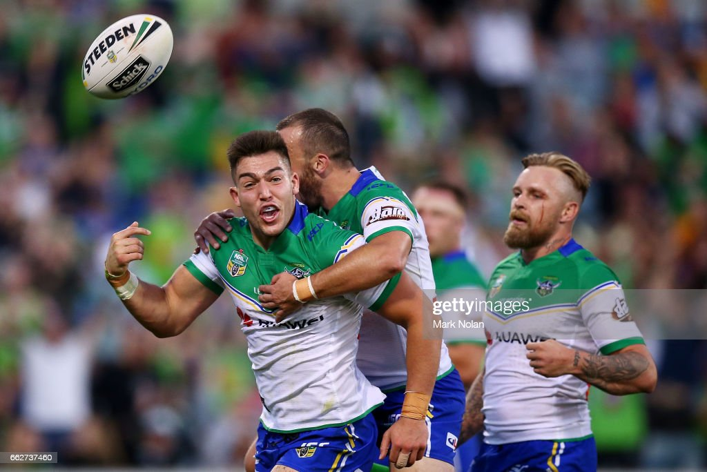 Nick Cotric of the Raiders celebrates a try during the round five NRL match between the Canberra Raiders and the Parramatta Eels at GIO Stadium on April 1, 2017 in Canberra, Australia.