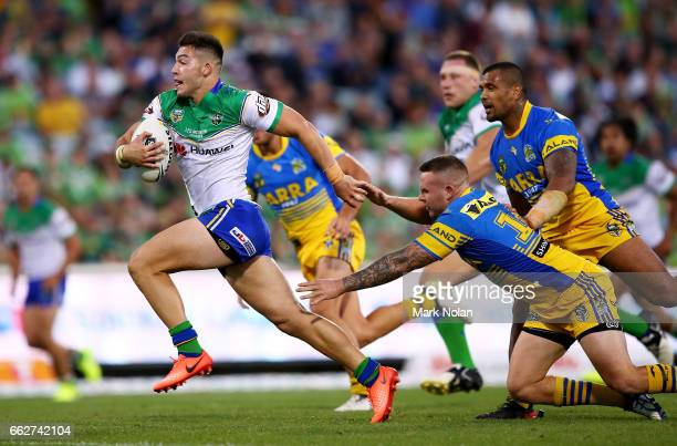 Nick Cotric of the Raiders heads to the try line to score during the round five NRL match between the Canberra Raiders and the Parramatta Eels at GIO...