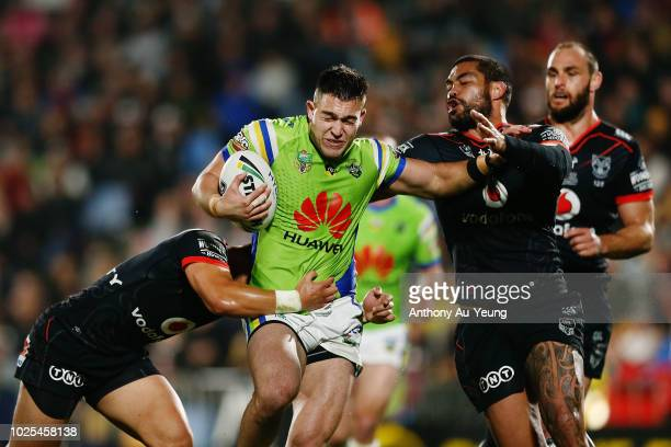 Nick Cotric of the Raiders on the charge during the round 25 NRL match between the New Zealand Warriors and the Canberra Raiders at Mt Smart Stadium...