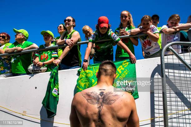 Nick Cotric of the Raiders signs autographs during a Canberra Raiders Training Session & Media Opportunity at GIO Stadium on October 01, 2019 in...