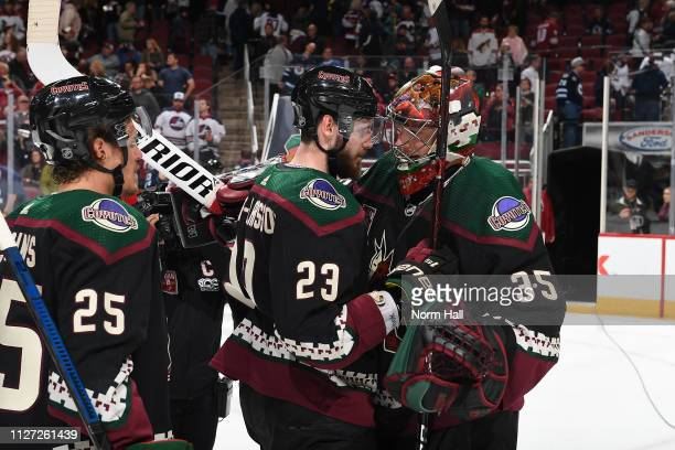 Nick Cousins and Oliver EkmanLarsson react with teammate goaltender Darcy Kuemper of the Arizona Coyotes after the Coyotes defeated the Winnipeg Jets...