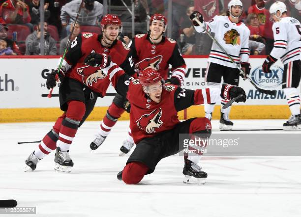 Nick Cousins of the Arizona Coyotes celebrates in front of teammates Oliver EkmanLarsson and Clayton Keller after scoring a goal against the Chicago...