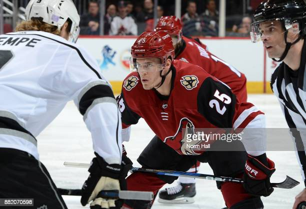 Nick Cousins of the Arizona Coyotes gets ready to take a faceoff against the Los Angeles Kings at Gila River Arena on November 24 2017 in Glendale...