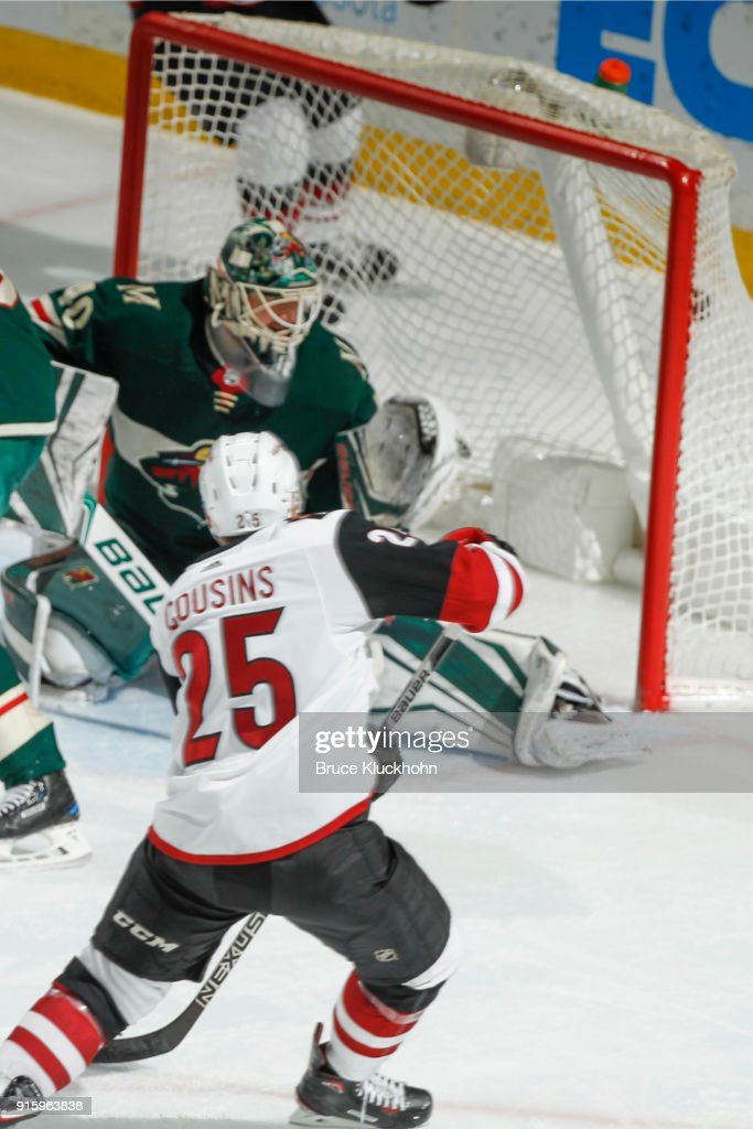 Nick Cousins #25 of the Arizona Coyotes scores a goal against Devan Dubnyk #40 of the Minnesota Wild during the game at the Xcel Energy Center on February 8, 2018 in St. Paul, Minnesota.