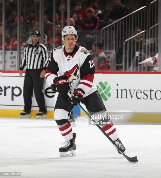 Nick Cousins of the Arizona Coyotes skates against the New Jersey Devils at the Prudential Center on March 23 2019 in Newark New Jersey The Devils...