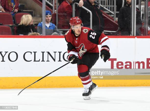 Nick Cousins of the Arizona Coyotes skates up ice against the St Louis Blues at Gila River Arena on February 14 2019 in Glendale Arizona