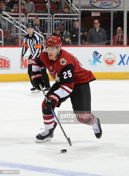 Nick Cousins of the Arizona Coyotes skates with the puck against the Calgary Flames at Gila River Arena on March 19 2018 in Glendale Arizona