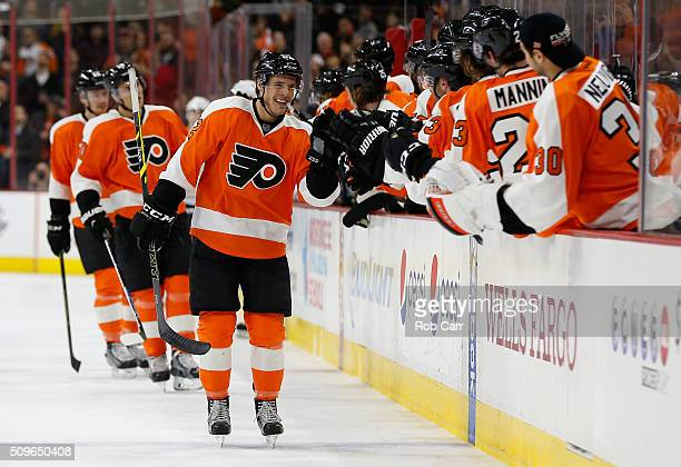 Nick Cousins of the Philadelphia Flyers celebrates after scoring a third period goal against the Buffalo Sabres at Wells Fargo Center on February 11...
