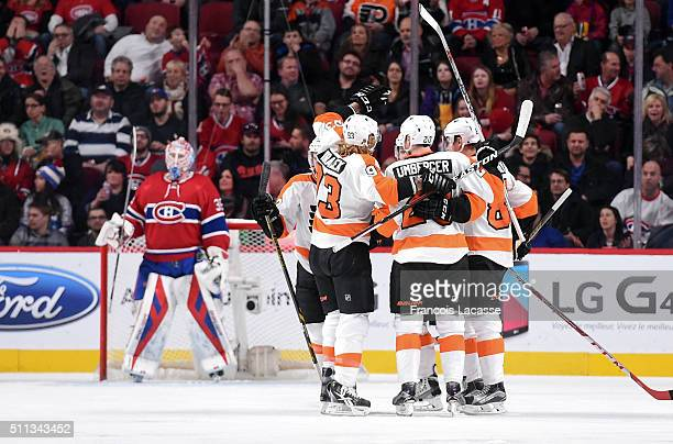 Nick Cousins of the Philadelphia Flyers celebrates after scoring a goal against the Montreal Canadiens in the NHL game at the Bell Centre on February...