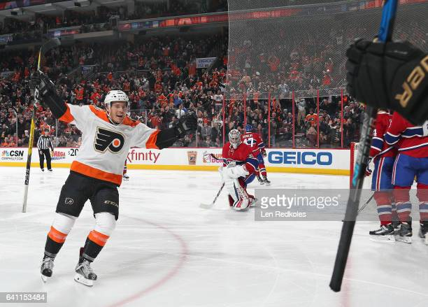 Nick Cousins of the Philadelphia Flyers celebrates Matt Read's third period game winning goal against the Montreal Canadiens on February 2 2017 at...