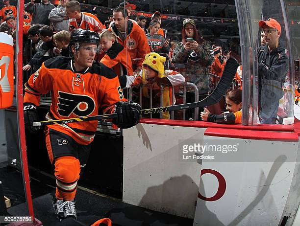 Nick Cousins of the Philadelphia Flyers enters the ice surface for the pregame warmups prior to playing the New York Rangers on February 6 2016 at...