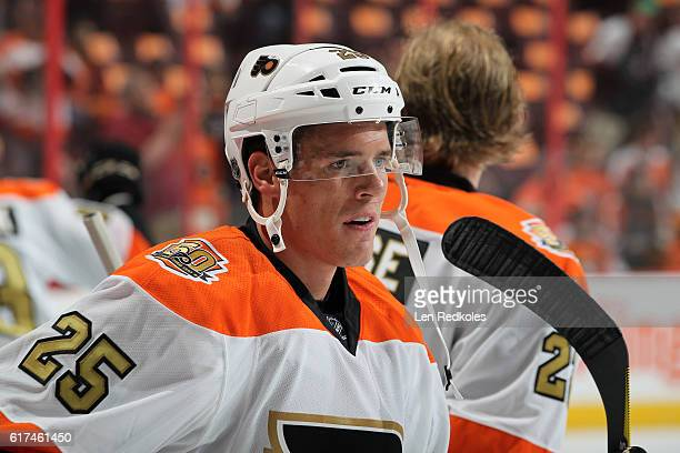 Nick Cousins of the Philadelphia Flyers looks on during warmups prior to his game against the Anaheim Ducks on October 20 2016 at the Wells Fargo...