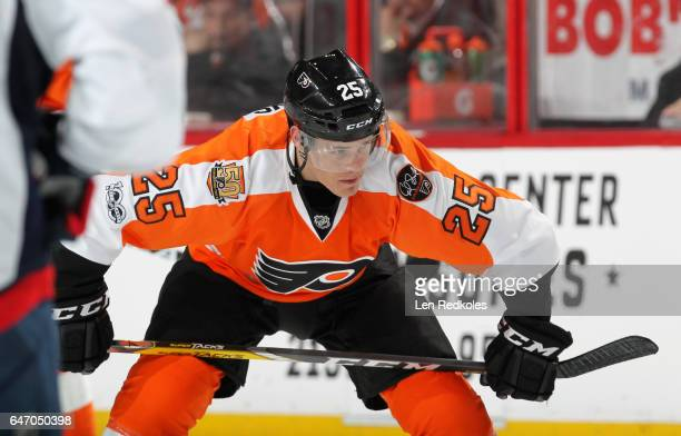 Nick Cousins of the Philadelphia Flyers looks on prior to a faceoff against the Washington Capitals on February 22 2017 at the Wells Fargo Center in...