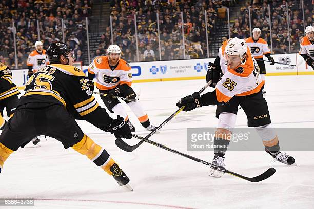 Nick Cousins of the Philadelphia Flyers shoots the puck against the Boston Bruins at the TD Garden on January 14 2017 in Boston Massachusetts