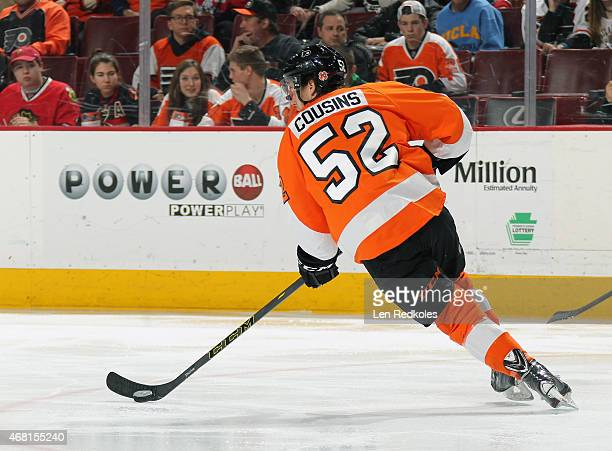 Nick Cousins of the Philadelphia Flyers skates the puck against the Chicago Blackhawks on March 25 2015 at the Wells Fargo Center in Philadelphia...
