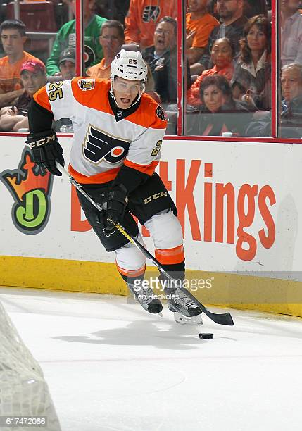 Nick Cousins of the Philadelphia Flyers skates the puck against the Anaheim Ducks on October 20 2016 at the Wells Fargo Center in Philadelphia...
