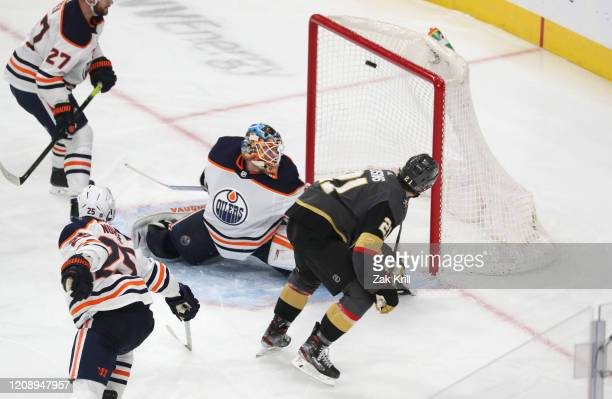 Nick Cousins of the Vegas Golden Knights scores a goal during the third period against the Edmonton Oilers at T-Mobile Arena on February 26, 2020 in...