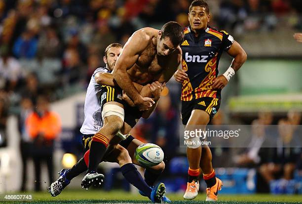 Nick Croswell of the Chiefs loses the ball in a tackled during the round 11 Super Rugby match between the Brumbies and the Chiefs at Canberra Stadium...