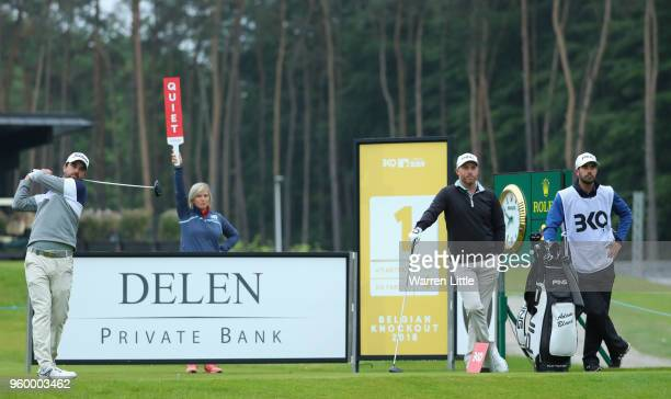 Nick Cullen of Australia tees off on the first hole against Adam Bland of Australia during the third round of the Belgian Knockout at at the Rinkven...
