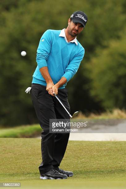 Nick Cullen of South Australia plays an approach shot during round two of the 2013 Australian Masters at Royal Melbourne Golf Course on November 15,...