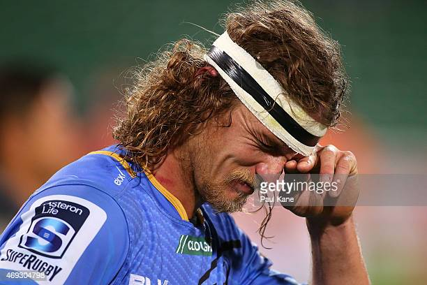 Nick Cummins of the Force reacts after being defeated during the round nine Super Rugby match between the Force and the Cheetahs at nib Stadium on...