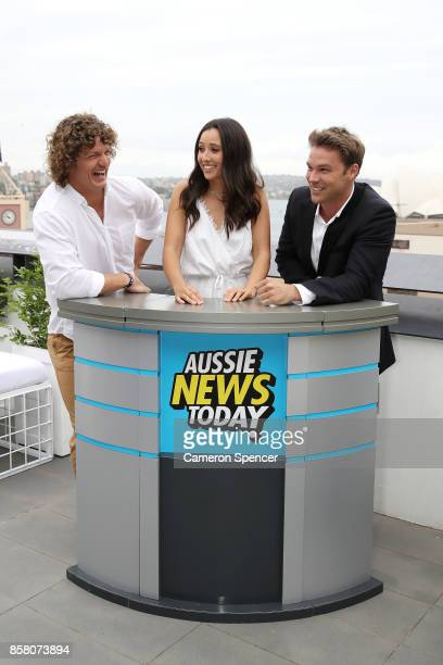 Nick Cummins Teigan Nash and Lincoln Lewis attend the launch of Aussie News Today as part of Tourism Australia's new youth campaign on October 6 2017...