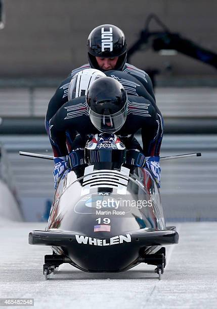 Nick Cunningham Adam Clark Alex Harrison and James Reed of USA compete in their first run of the four man bob competition during the FIBT Bob...