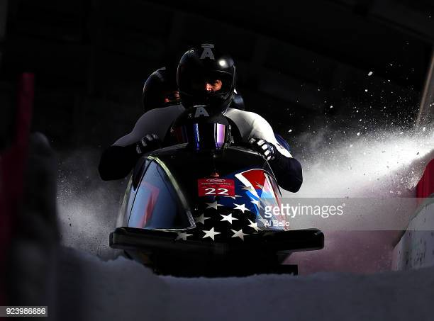 Nick Cunningham Hakeem AbdulSaboor Christopher Kinney and Samuel Michener of the United States finish their run during the 4man Boblseigh Heats on...