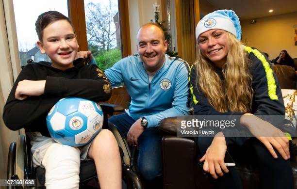 Nick Cushing Claire Elmslie and Georgis Stanway at Francis House on December 10 2018 in Manchester England