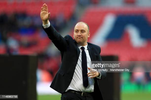 Nick Cushing Head Coach of Manchester City Women celebrates following his sides victory in the Women's FA Cup Final match between Manchester City...