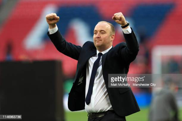 Nick Cushing Head Coach of Manchester City Women celebrates victory after the Women's FA Cup Final match between Manchester City Women and West Ham...