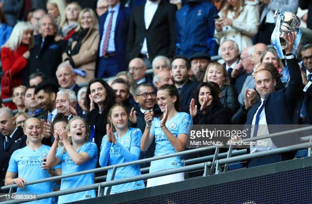 Nick Cushing Head Coach of Manchester City Women lifts the Women's FA Cup Trophy as his team win the Women's FA Cup Final match between Manchester...