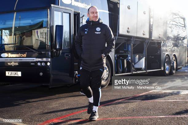 Nick Cushing manager of Manchester City arrives at the stadium during the Barclays FA Women's Super League match between Birmingham City and...