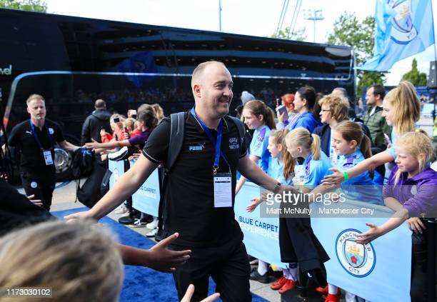 Nick Cushing manager of Manchester City arrives at the stadium prior to the Barclays FA Women's Super League match between Manchester City and...
