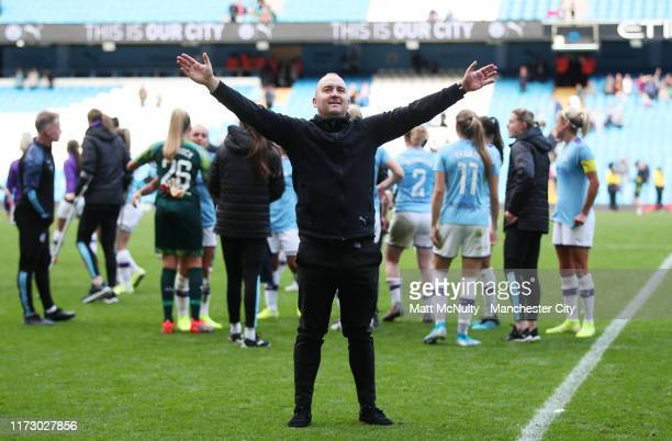 Nick Cushing manager of Manchester City celebrates during the Barclays FA Women's Super League match between Manchester City and Manchester United at...