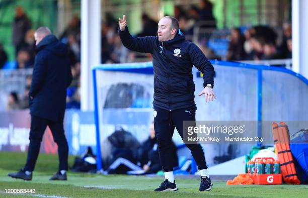 Nick Cushing manager of Manchester City gestures during the Barclays FA Women's Super League match between Birmingham City and Manchester City at...